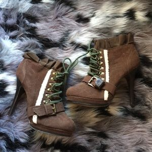 "Nadara EUC Brown Lace Up 5"" Stiletto Booties"